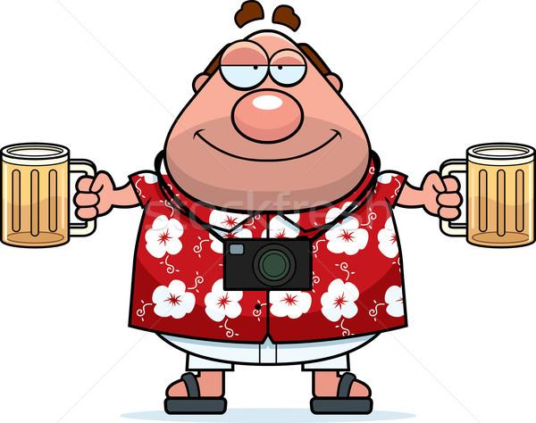 Részeg turista boldog rajz pár sör Stock fotó © cthoman