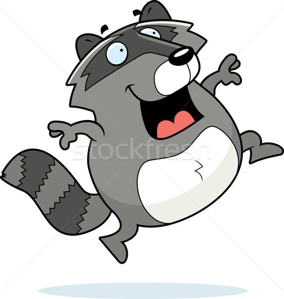 Rakun atlama mutlu karikatür gülen Stok fotoğraf © cthoman