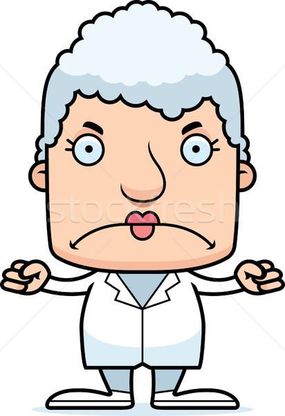 Cartoon arrabbiato medico donna guardando Foto d'archivio © cthoman