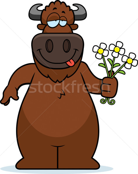 Cartoon Buffalo Flowers Stock photo © cthoman
