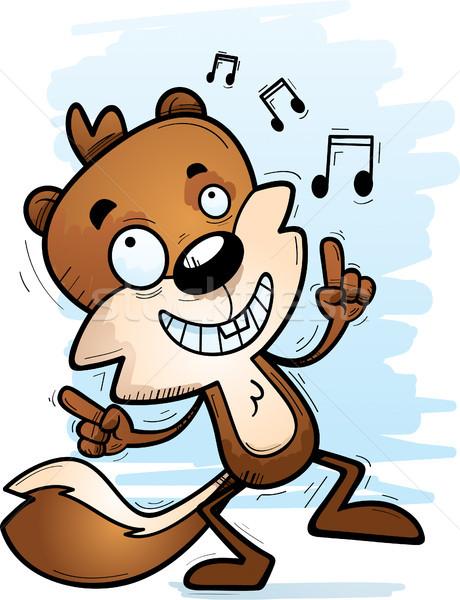 Cartoon mannelijke eekhoorn dansen illustratie gelukkig Stockfoto © cthoman