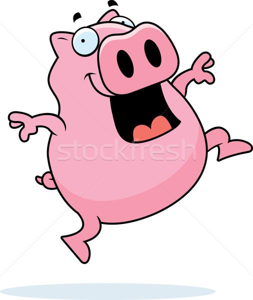 свинья прыжки счастливым Cartoon улыбаясь Сток-фото © cthoman