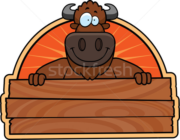 Cartoon Buffalo Wood Sign Stock photo © cthoman