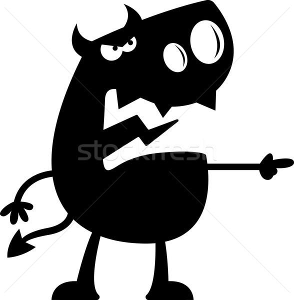Cartoon duivel silhouet boos wijzend zwart en wit Stockfoto © cthoman