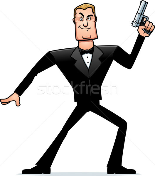 Cartoon spion smoking actie pose illustratie Stockfoto © cthoman