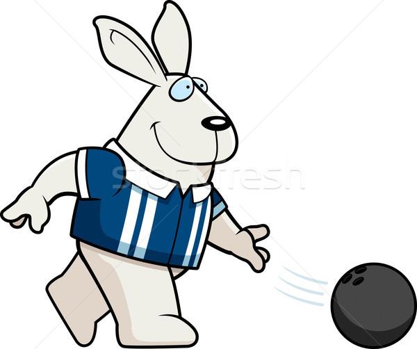 Cartoon konijn bowling illustratie gelukkig Stockfoto © cthoman