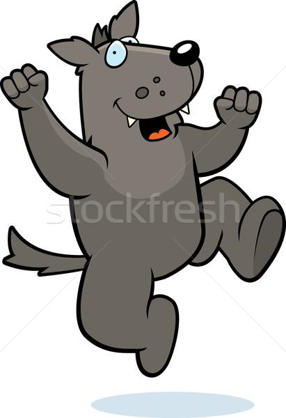 Lobo saltando feliz desenho animado sorridente cão Foto stock © cthoman
