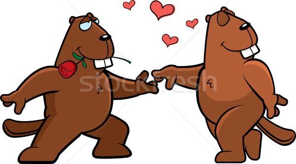 бобр романтика два Cartoon счастливым любви Сток-фото © cthoman