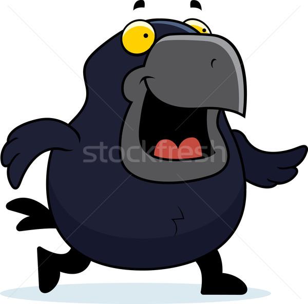 Cartoon linii spaceru ilustracja uśmiechnięty ptaków Zdjęcia stock © cthoman