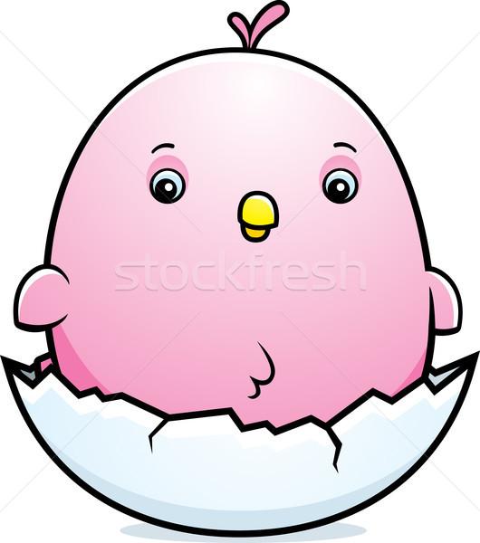 Cartoon Baby Pink Parakeet Egg Stock photo © cthoman