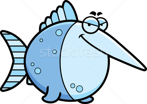 Sluw cartoon zwaardvis illustratie vis Blauw Stockfoto © cthoman