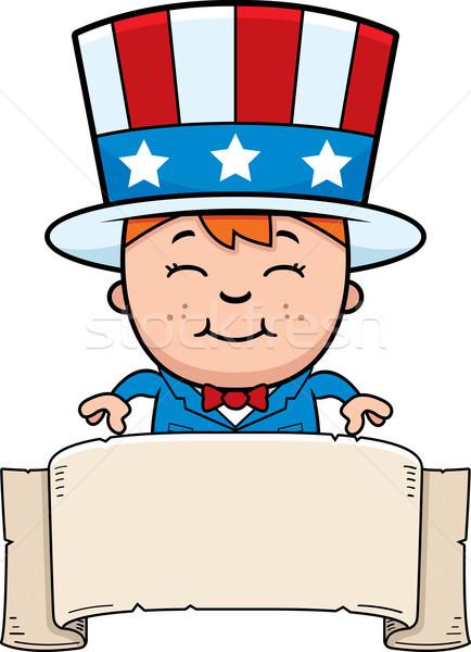 Vaderlandslievend kind banner cartoon illustratie jongen Stockfoto © cthoman