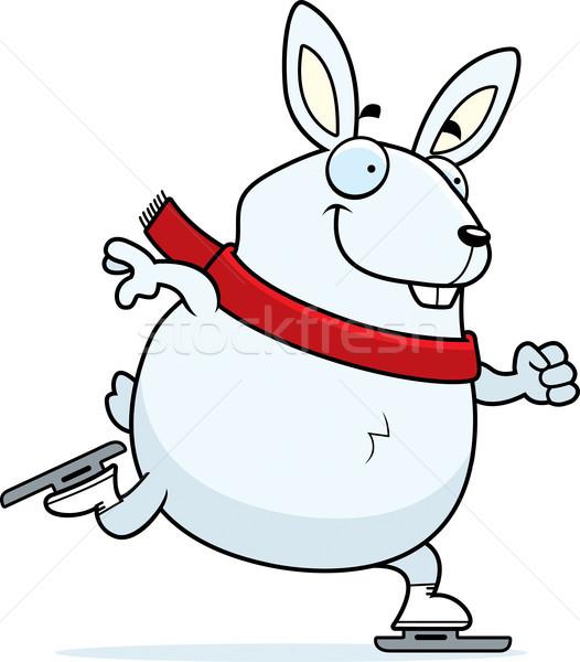 Cartoon Rabbit Ice Skating Stock photo © cthoman