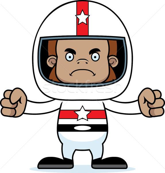 Cartoon colère voiture de course pilote regarder Photo stock © cthoman