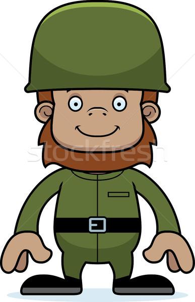 Cartoon Smiling Soldier Sasquatch Stock photo © cthoman
