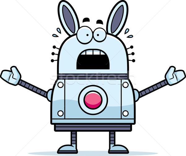 Paura robot coniglio cartoon illustrazione guardando Foto d'archivio © cthoman