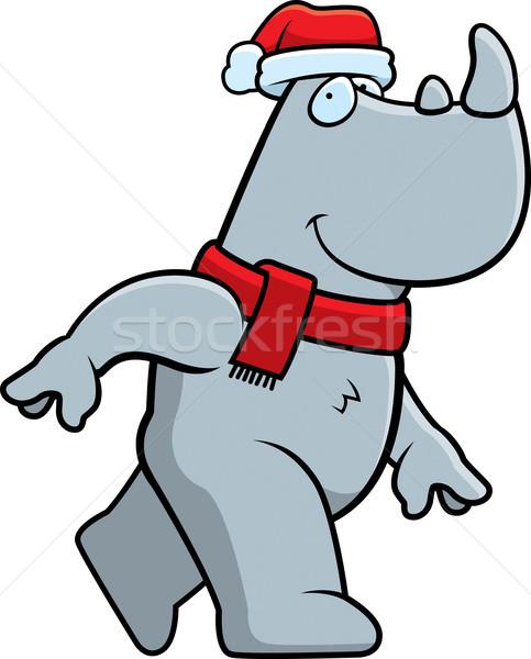 Karikatür Noel gergedan örnek şapka eşarp Stok fotoğraf © cthoman