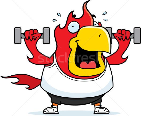 Cartoon Phoenix Dumbbells Stock photo © cthoman