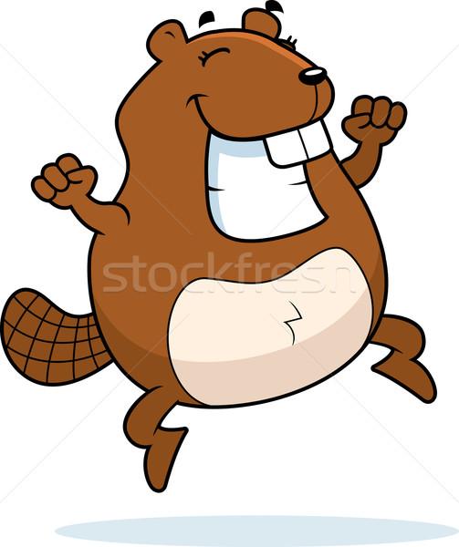 бобр прыжки счастливым Cartoon улыбаясь успех Сток-фото © cthoman
