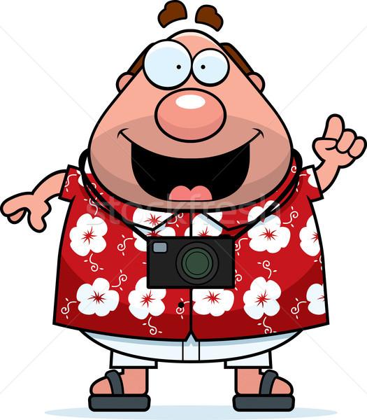 Turist fikir mutlu karikatür seyahat kişi Stok fotoğraf © cthoman