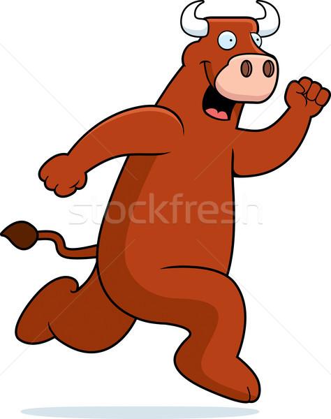 Stier lopen gelukkig cartoon glimlachend Stockfoto © cthoman