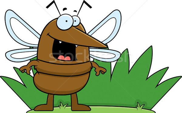 Cartoon zanzara erba illustrazione piedi Foto d'archivio © cthoman