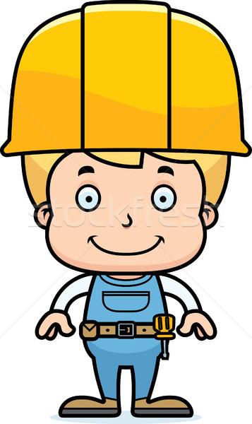 Cartoon Smiling Construction Worker Boy Stock photo © cthoman