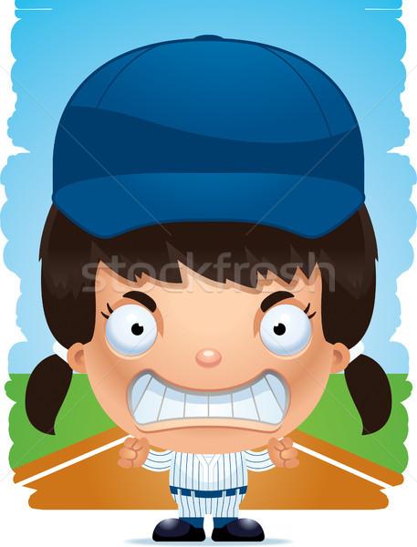 Angry Cartoon Girl Baseball Player Stock photo © cthoman
