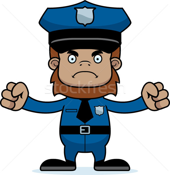 Cartoon Angry Police Officer Sasquatch Stock photo © cthoman