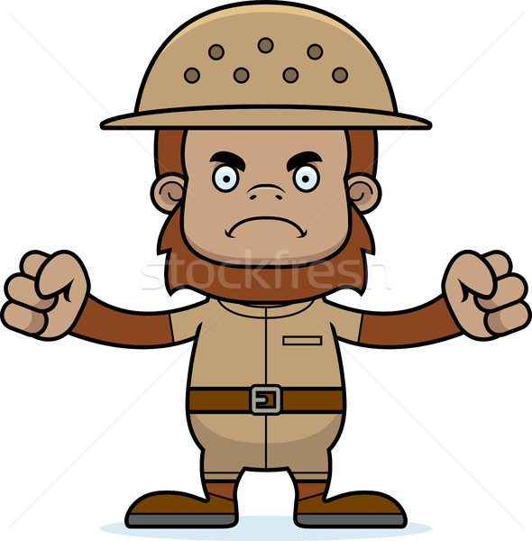 Stock photo: Cartoon Angry Zookeeper Sasquatch