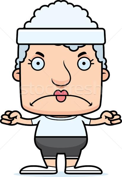 Сток-фото: Cartoon · сердиться · Фитнес-женщины · глядя · фитнес · осуществлять