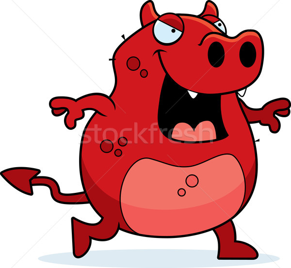 Teufel Fuß Karikatur rot lächelnd böse Stock foto © cthoman
