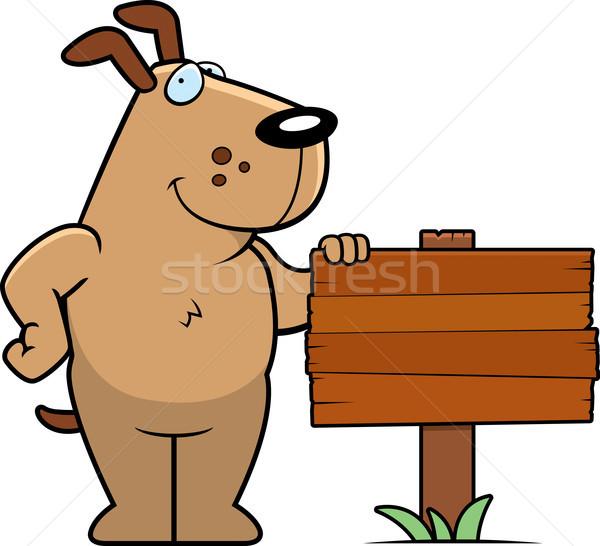 Kutya felirat boldog rajz áll fa Stock fotó © cthoman