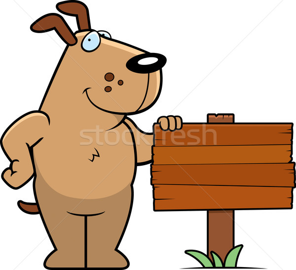 Hond teken gelukkig cartoon permanente hout Stockfoto © cthoman