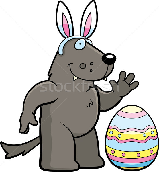 Cartoon Easter Wolf Stock photo © cthoman