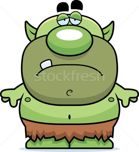Rajz szomorú manó illusztráció néz zöld Stock fotó © cthoman