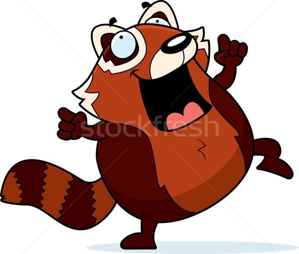 Rajz piros panda tánc illusztráció mosolyog Stock fotó © cthoman