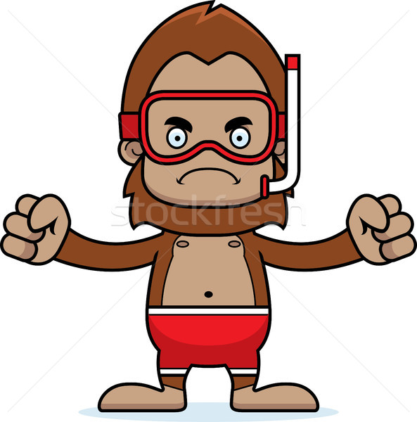 Cartoon Angry Snorkeler Sasquatch Stock photo © cthoman