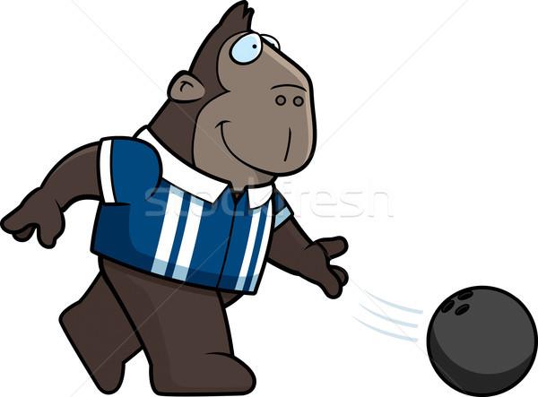 Rajz gorilla bowling illusztráció bowling golyó boldog Stock fotó © cthoman
