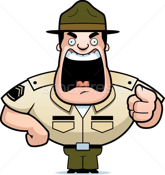 дрель сержант сердиться Cartoon указывая Сток-фото © cthoman
