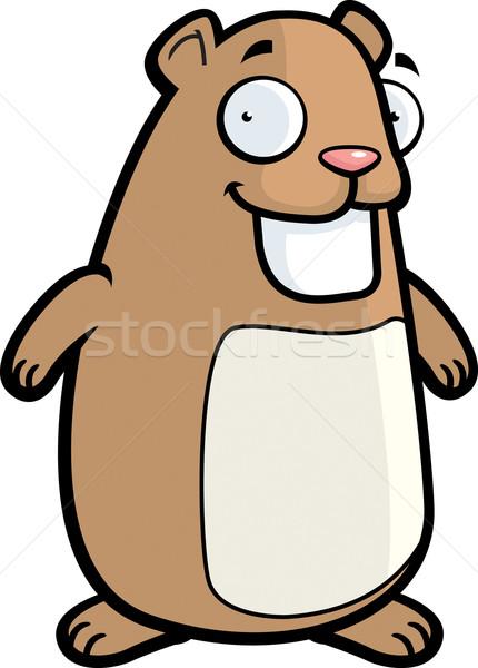 Hamster glimlachend gelukkig cartoon permanente Stockfoto © cthoman
