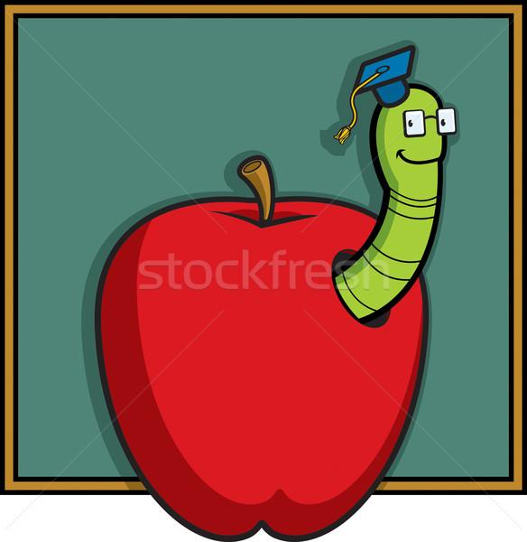 Solucan profesör mutlu karikatür elma öğrenme Stok fotoğraf © cthoman