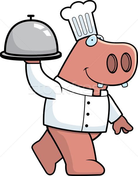 Ippopotamo chef felice cartoon vassoio Foto d'archivio © cthoman