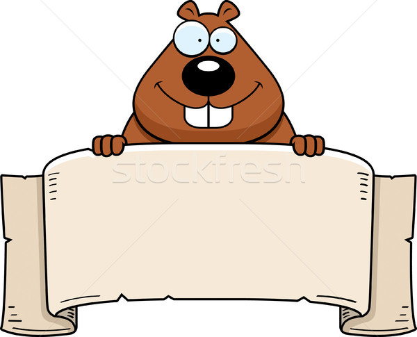 Cartoon Beaver Banner Stock photo © cthoman