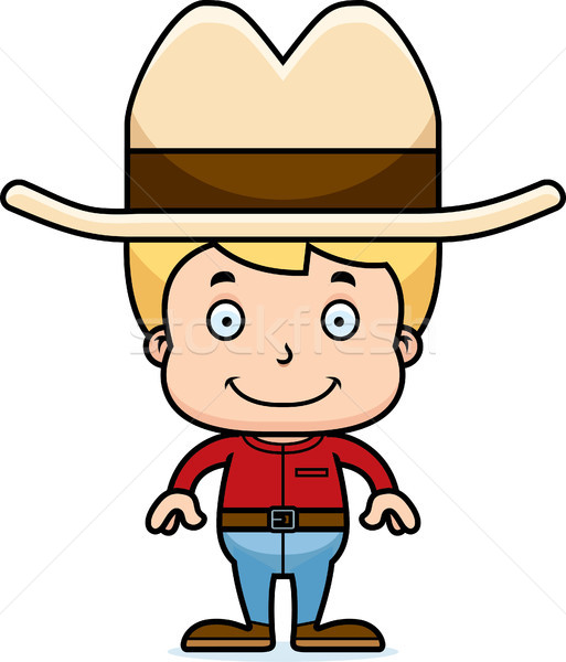 Cartoon Smiling Cowboy Boy Stock photo © cthoman