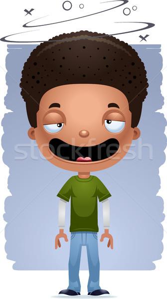 Cartoon dronken teen jongen illustratie Stockfoto © cthoman