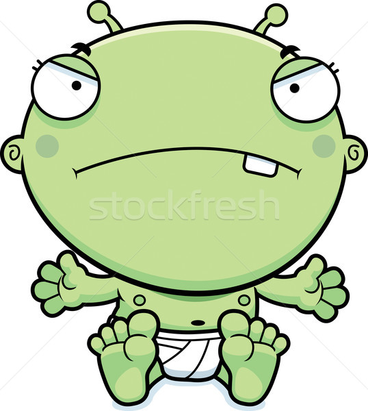 Cartoon Baby Alien Mad Stock photo © cthoman