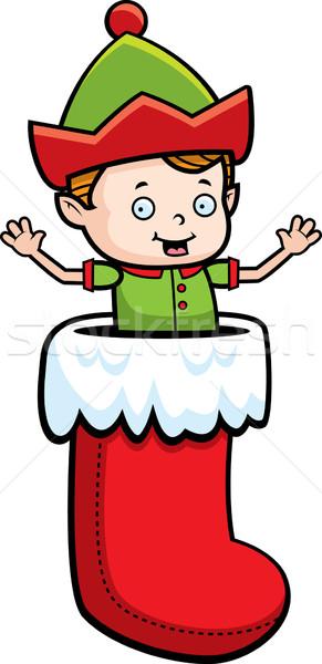エルフ ストッキング 幸せ 漫画 クリスマス 赤 ストックフォト © cthoman