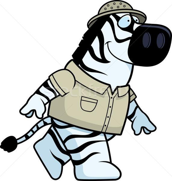 Zebra explorador feliz desenho animado caminhada sorridente Foto stock © cthoman