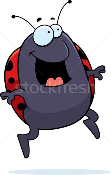 Uğur böceği atlama mutlu karikatür gülen Stok fotoğraf © cthoman